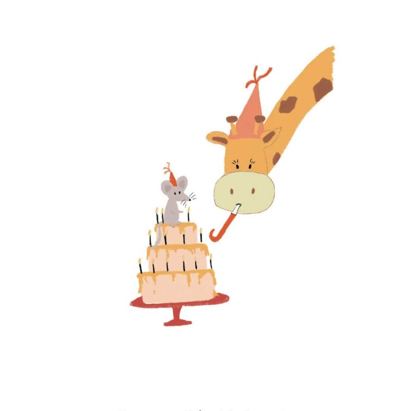 Happy Birthday – Giraffe en Muis