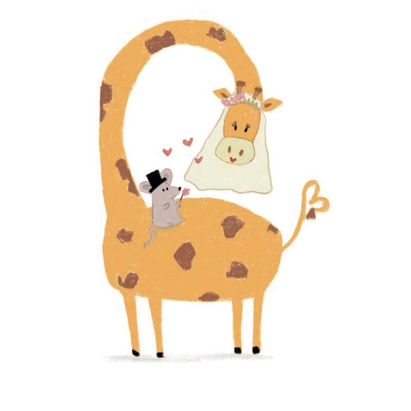 Just Married – Giraffe en Muis
