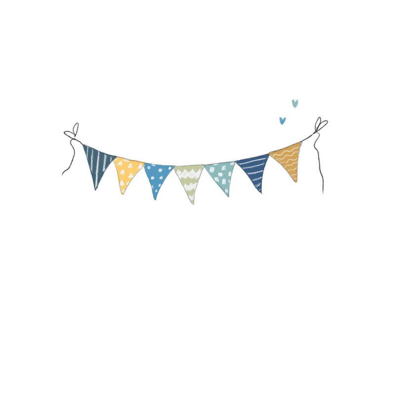 Hiep Hiep Hoera – vlaggetjes blauw