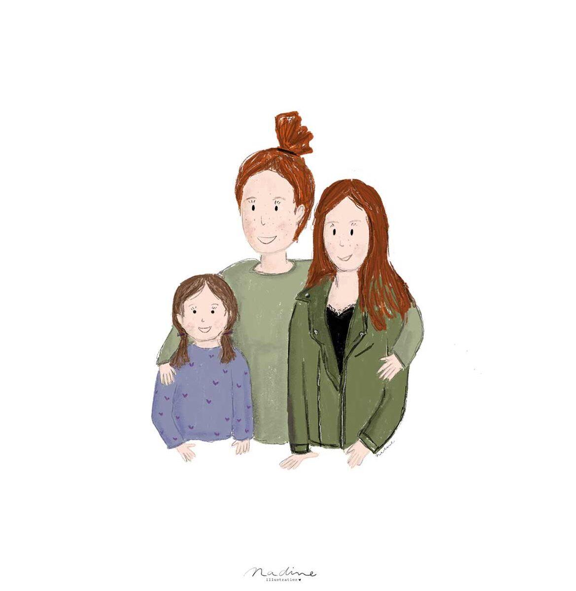 Portretje en  tekening voor Mama und Mia